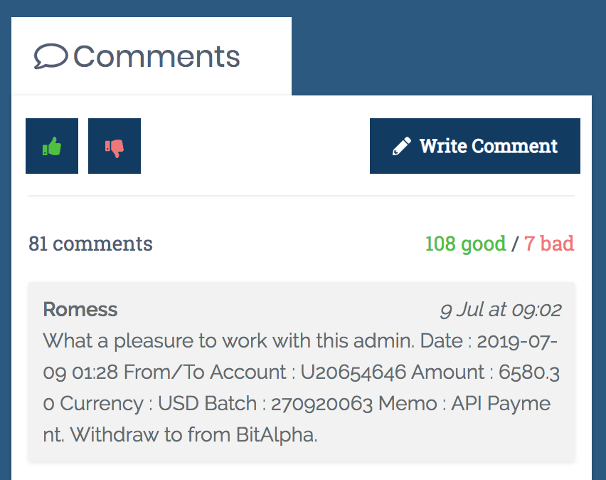 User comments and votes on AllHyipData
