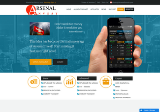 Screenshot of arsenalinvest.cyou